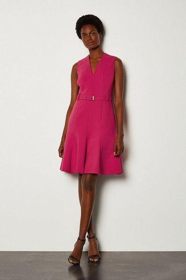 Pink Sleeveless Belted Flippy Hem Dress