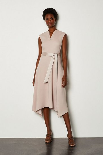 Natural Notch Neck Sleeveless Crepe Midi Dress