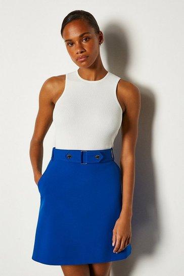 Blue Cinch Waist A-Line Skirt