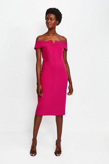 Pink Forever Bardot Pencil Dress