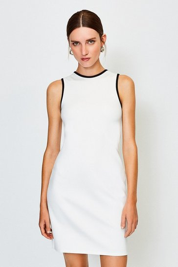 Ivory Ponte Sleeveless Fitted Dress