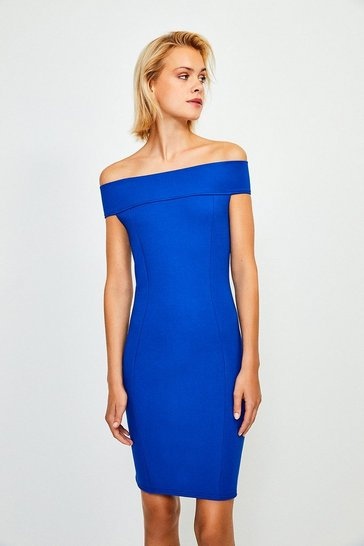 Blue Ponte Bardot Zip Back Dress