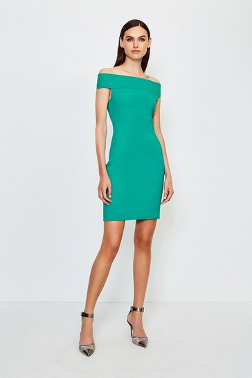 Green Ponte Bardot Zip Back Dress