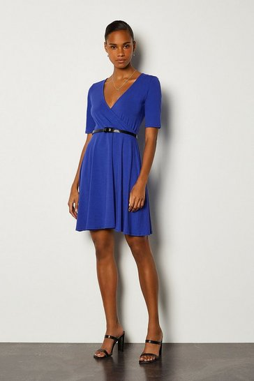 Cobalt Wrap Short Sleeve Skater Dress With Belt