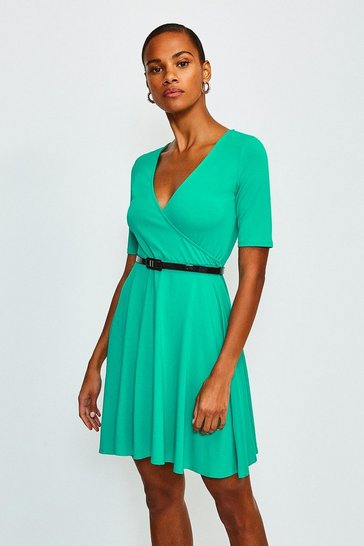 Green Wrap Short Sleeve Skater Dress With Belt