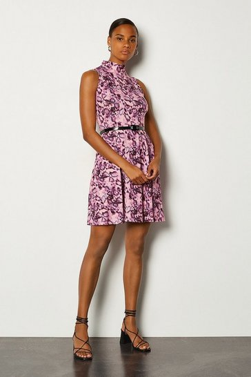 Animal Jersey Funnel Sleeveless Dress With Belt