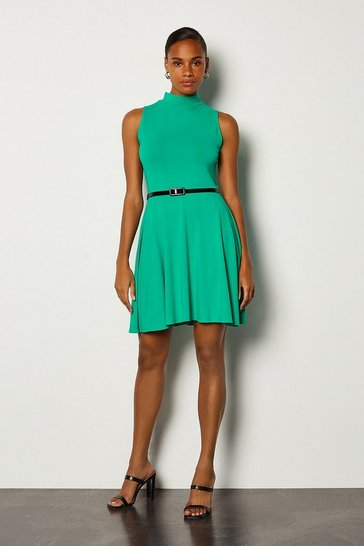 Green Jersey Funnel Sleeveless Dress With Belt