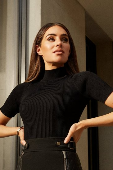 Black Knitted Rib Funnel Neck Top