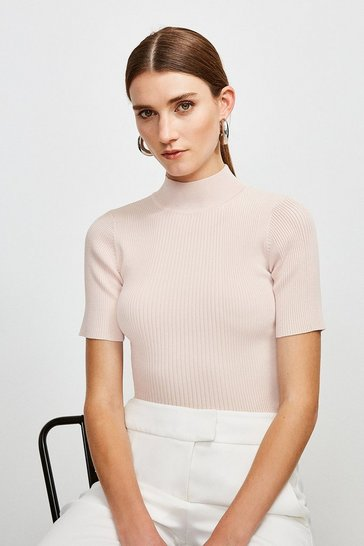 Pale pink Knitted Rib Funnel Neck Top