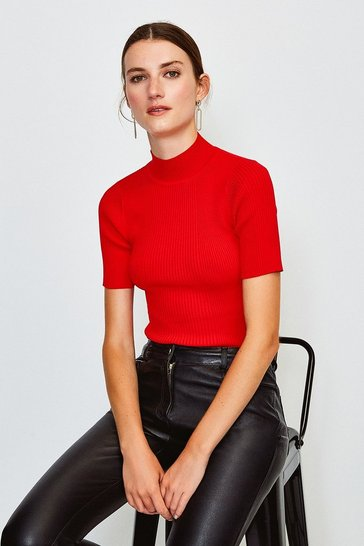 Red Knitted Rib Funnel Neck Top
