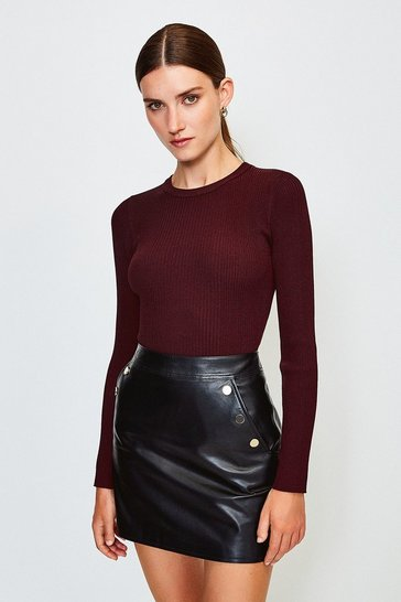 Fig Knitted Rib Long Sleeve Crew Neck Top