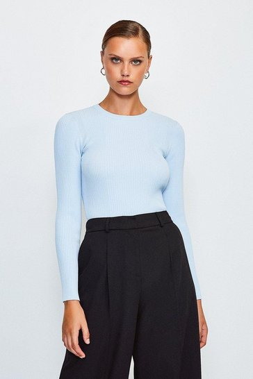 Pastel blue Knitted Rib Long Sleeve Crew Neck Top