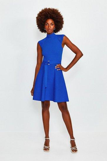 Cobalt High Neck Knitted Skater Dress