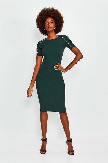Green Rivet Sleeve Knitted Dress