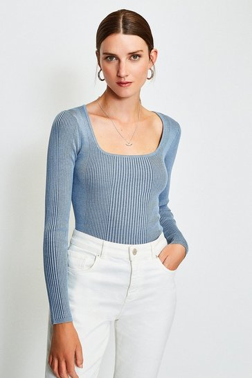 Blue Scoop Neck Knitted Top