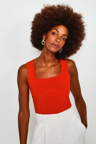 Orange Square Neck Rib Knitted Top