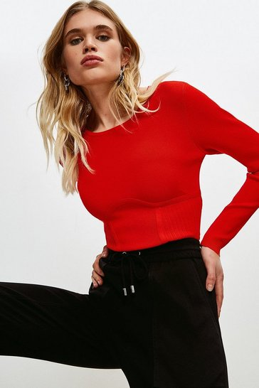 Red Long Sleeve Rib Knitted Crew Neck Top