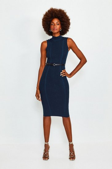 Navy Rivet Shoulder Knitted Dress