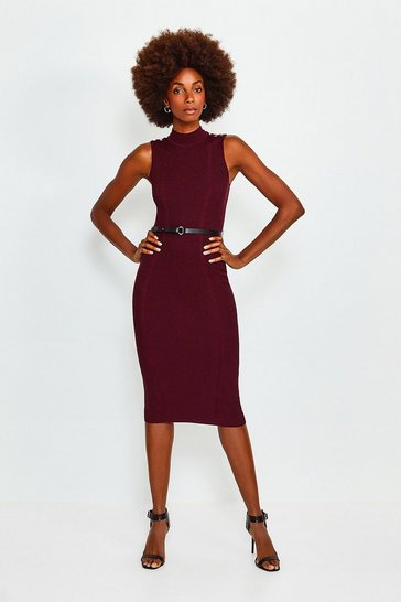 Wine Rivet Shoulder Knitted Dress
