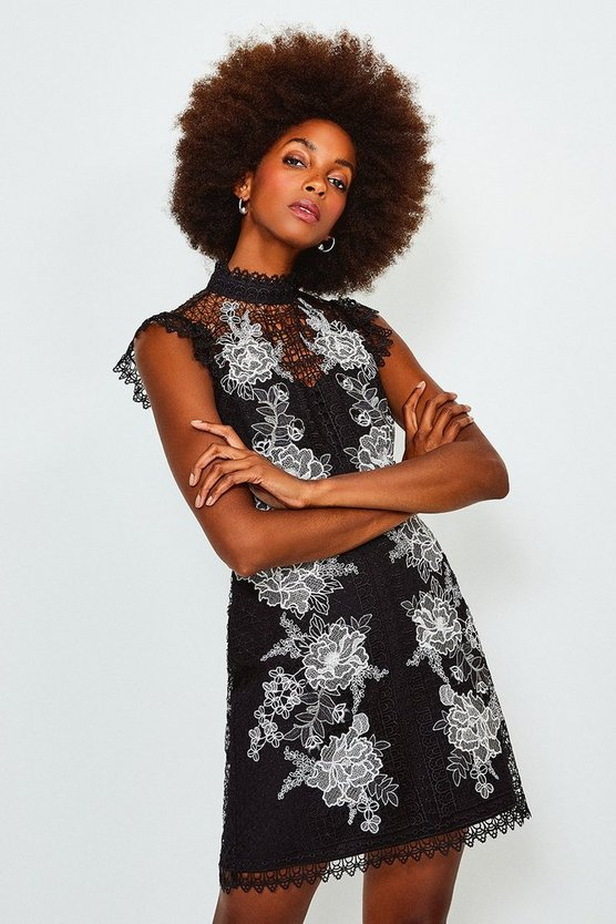 Black Cutwork Embroidered Mini Dress