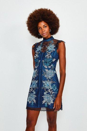 Blue Cutwork Embroidered Mini Dress