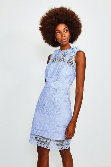Blue Chemical Lace Sleeveless Dress