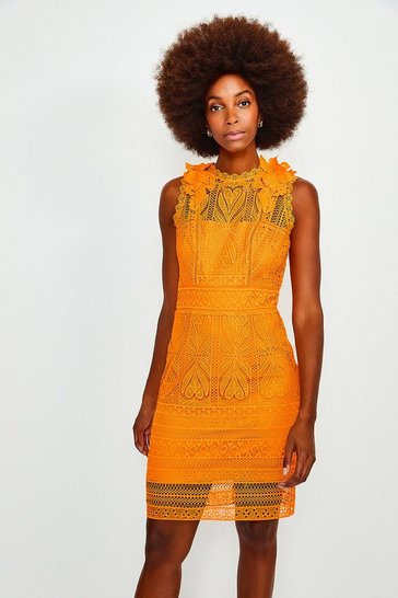 Orange Chemical Lace Sleeveless Dress
