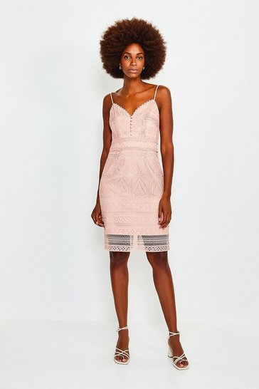 Peach Strappy Chemical Lace Dress
