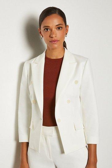 Ivory 3/4 Sleeve Occasion Jacket