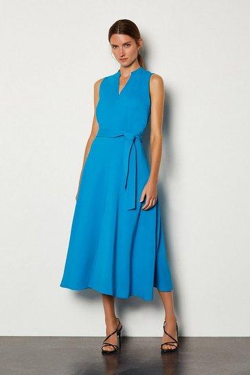 Blue Notch Neck Soft Tie Midi Dress