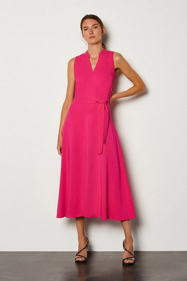 Pink Notch Neck Soft Tie Midi Dress