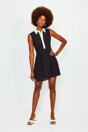 Black Colour Block Silk Satin Sleeveless Dress