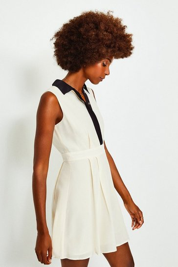 Ivory Colour Block Silk Satin Sleeveless Dress