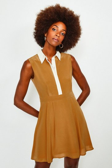 Tan Colour Block Silk Satin Sleeveless Dress