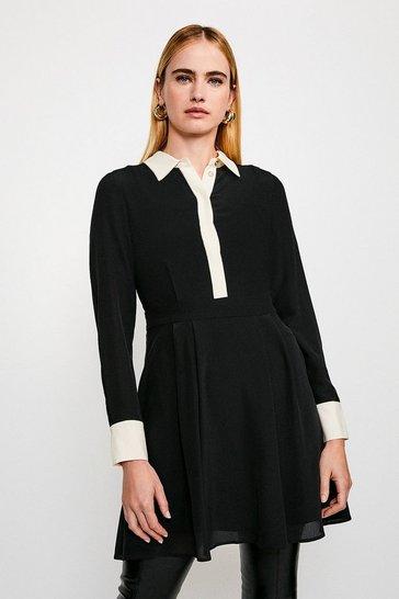 Black Colour Block Silk Satin Long Sleeve Dress