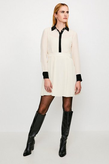 Ivory COLOUR BLOCK SILK SATIN LONG SLEEVE DRESS