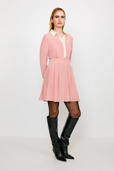 Pink COLOUR BLOCK SILK SATIN LONG SLEEVE DRESS