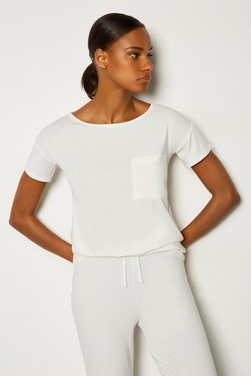 Ivory Viscose Jersey Short Sleeve Lounge T-Shirt
