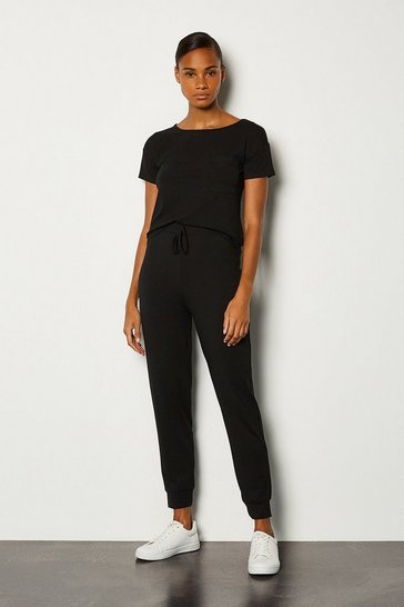 Black Viscose Jersey Lounge Cuffed Jogger
