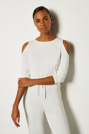 Ivory Viscose Jeresy Lounge  Cold Shoulder Top