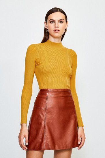 Yellow Rib Knitted High Neck Top
