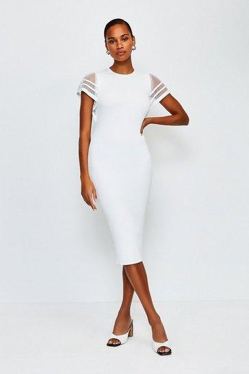 White Sheer Sleeved Knitted Dress