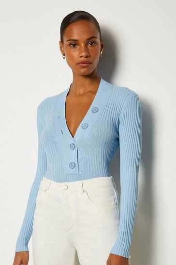 Pale blue Plunge Button Knitted Jumper