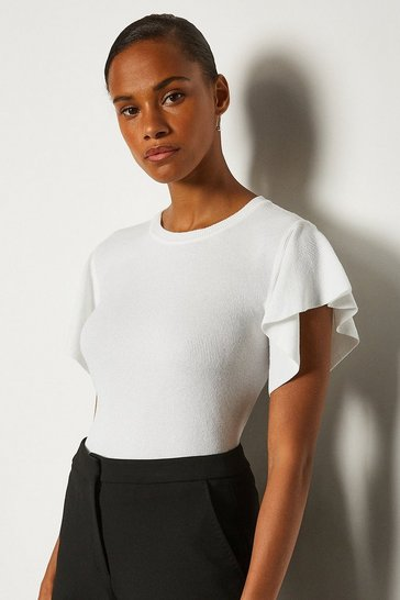 White Ruffle Sleeve Knitted Top