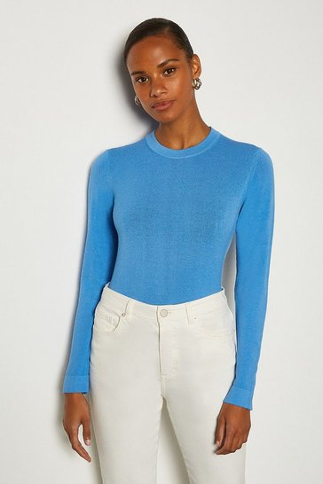 Blue Crew Neck Knitted JUmper