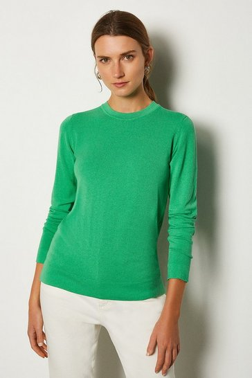 Green Crew Neck Knitted Jumper