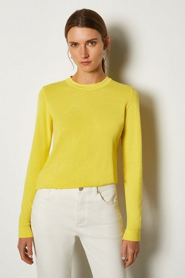 Yellow Crew Neck Knitted JUmper