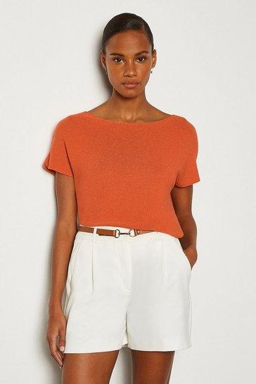 Orange Grown On Sleeve Knitted Jumper