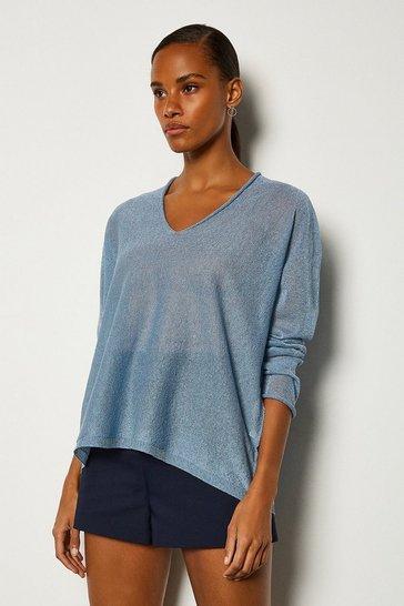 Pale blue V Neck Knitted JUmper