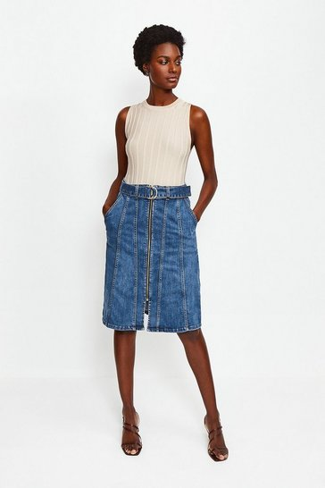 Indigo Denim Zip Front Skirt